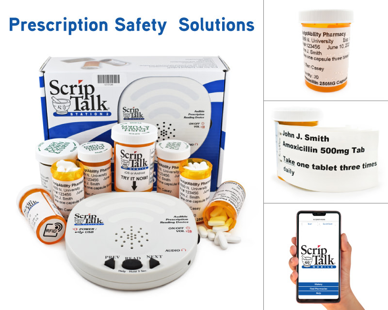 Prescription Safety Solutions: prescription bottles with accessible labels and the ScripTalk device
