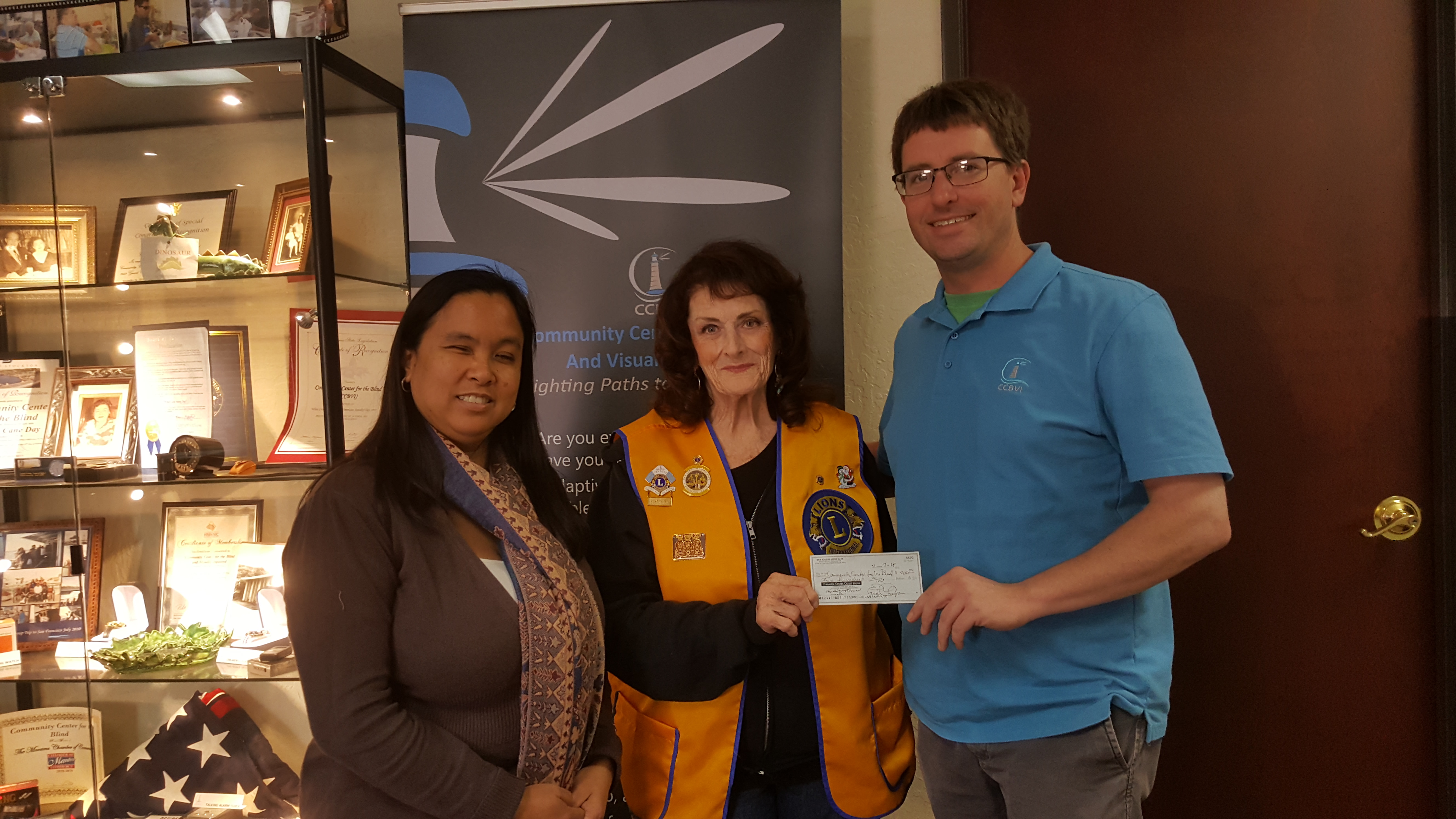 Lions Club making a donation to CCBVI