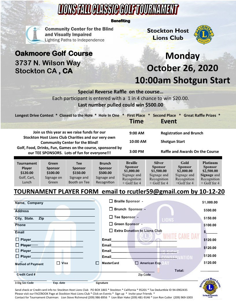 Lions Fall Classic Golf Tournament Benefiting Community Center for the Blind and Visually Impaired and Stockton Host Lions charities flyer